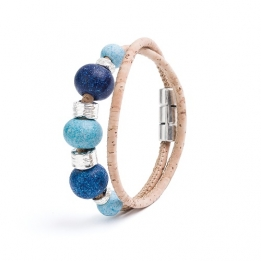 534 Artelusa Bracelet With Blue/Silver Beads (Beige) 37 cm
