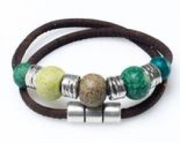 535 Artelusa Bracelet With Green/Silver Beads (Brown) 34,5cm