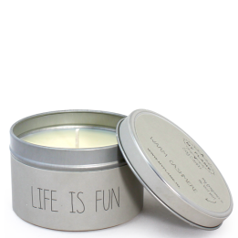 My Flame soja geurkaars blikje Life is Fun - warm cashmere