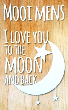 Mooi Mens chocolade melk met kaartje -I love you to the moon (bedel klaver)