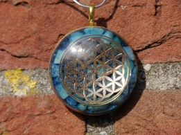 O010 Orgone & Plasma Energy hanger Flower of Life blue